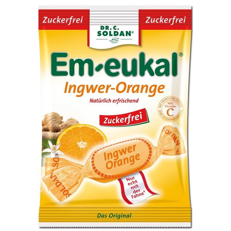 Em-eukal-Ingwer-Orange-zuckerfrei-75g-Hustenbonbon-20-Btl