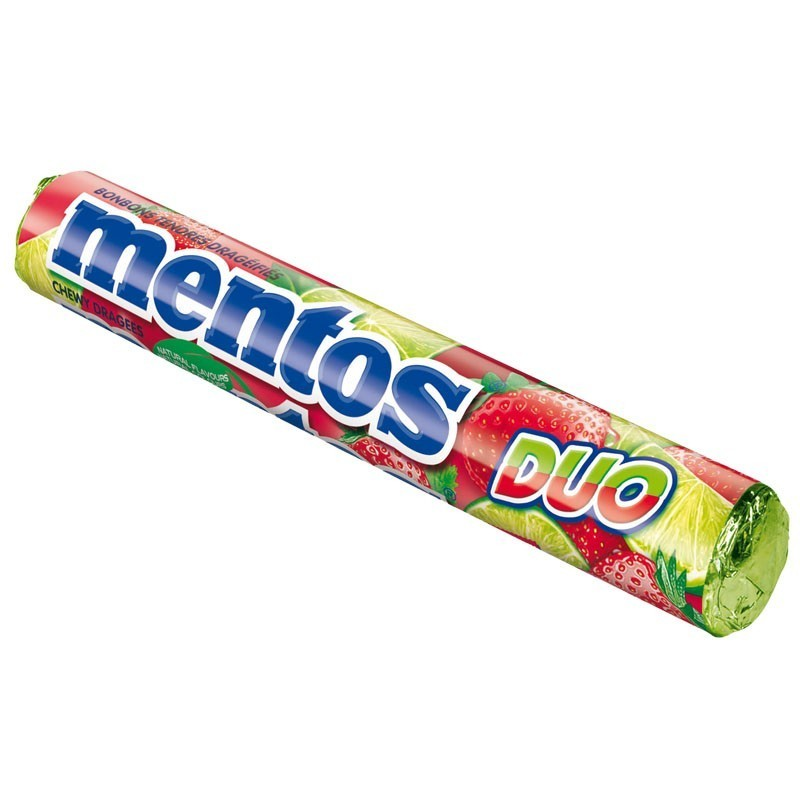 Mentos-Duo-Erdbeer-Limette-Rolle-Kau-Bonbon-Dragee-40-Stueck